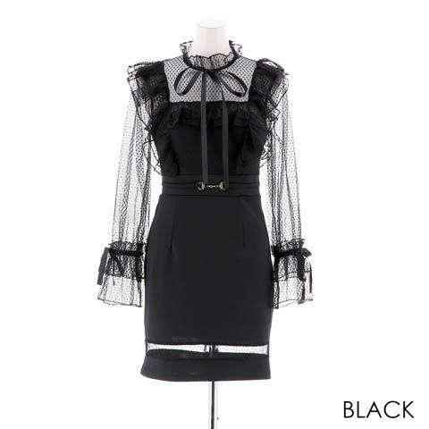 [SMLサイズ]リボン付きチュール袖タイトミニドレス[3サイズ展開](ブラック-Sサイズ)