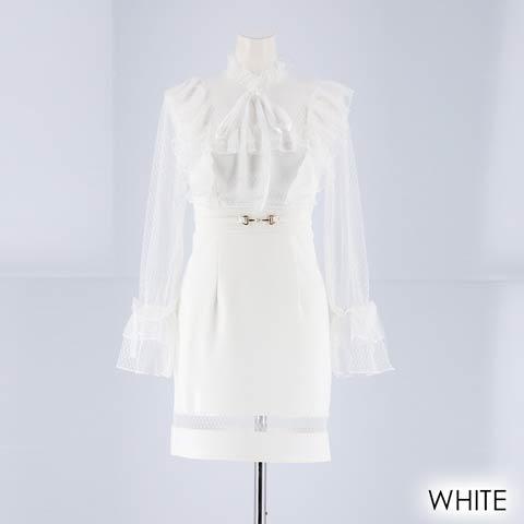 [SMLサイズ]リボン付きチュール袖タイトミニドレス[3サイズ展開](ホワイト-Sサイズ)