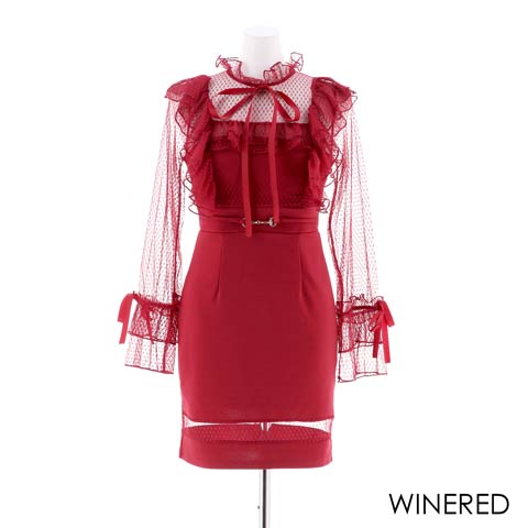 [SMLサイズ]リボン付きチュール袖タイトミニドレス[3サイズ展開](ワインレッド-Sサイズ)