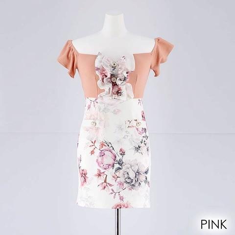 [SMLサイズ]胸元フリルオフショル花柄タイトミニドレス[3サイズ展開](ピンク-Sサイズ)