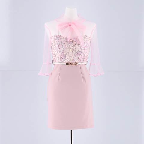 [明日花キララ着用]ベルト付きシアースリーブタイトミニドレス[3サイズ展開](ピンク-Sサイズ)