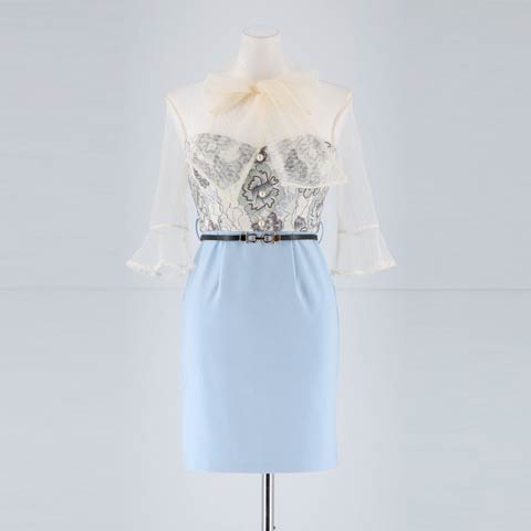 [明日花キララ着用]ベルト付きシアースリーブタイトミニドレス[3サイズ展開](ライトブルー-Sサイズ)