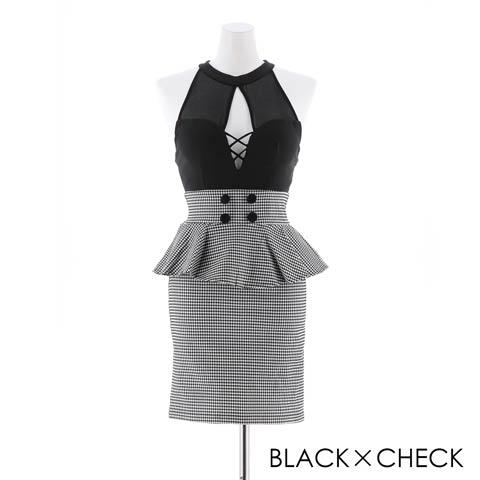 [SMLサイズ]モノトーンチェックSEXY谷間ホールタイトミニドレス[3サイズ展開](ブラック×チャック-Sサイズ)