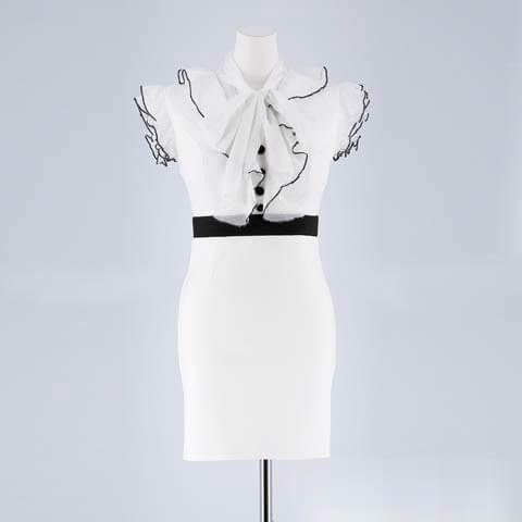 [XS~Lサイズ]ボウタイリボンラメシフォンタイトミニドレス[4サイズ展開](ホワイト×ブラック-XSサイズ)