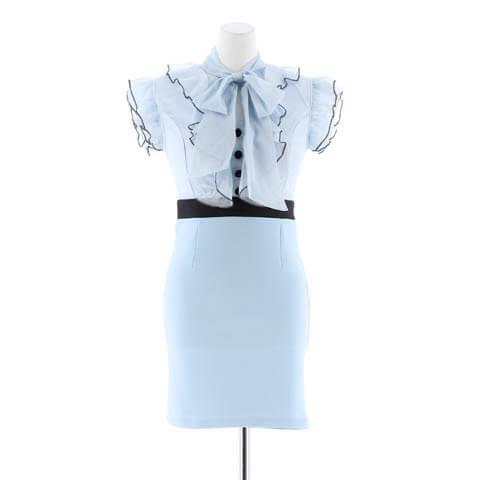[XS~Lサイズ]ボウタイリボンラメシフォンタイトミニドレス[4サイズ展開](ブルー×ブラック-XSサイズ)