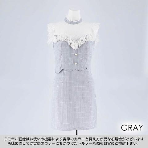 [SMLサイズ]ハイネックレースflowerタイトミニドレス[3サイズ展開](グレー-Sサイズ)