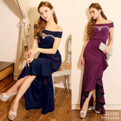 11/15UP[SMLサイズ]サイドフリルオフショルタイトロングドレス[3サイズ展開]