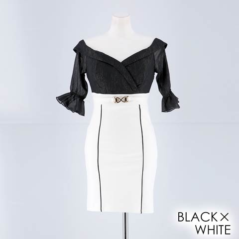 【応援ドレス】[SMLサイズ]カシュクールラメシフォンオフショルタイトミニドレス[3サイズ展開](ブラック×ホワイト-Sサイズ)