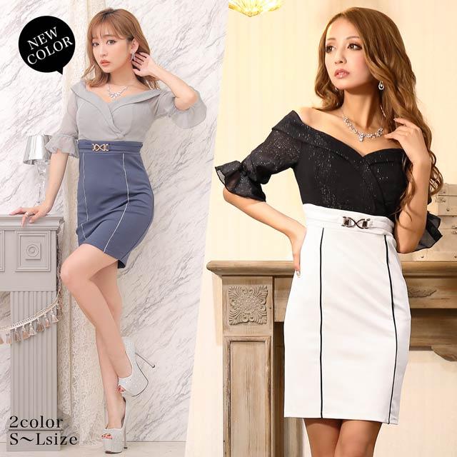 【応援ドレス】[SMLサイズ]カシュクールラメシフォンオフショルタイトミニドレス[3サイズ展開]