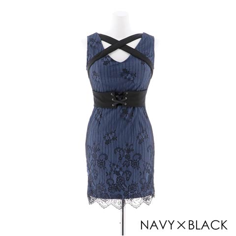 【盛りドレス】[SMLサイズ]クロスデザインレースタイトミニドレス[3サイズ展開](ネイビー×ブラック-XS)