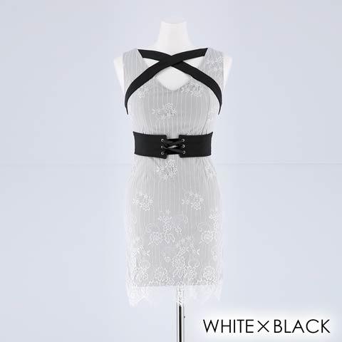 【盛りドレス】[SMLサイズ]クロスデザインレースタイトミニドレス[3サイズ展開](ホワイト×ブラック-XS)
