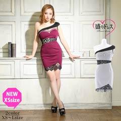 【盛りドレス】[XS~Lサイズ]ワンショルウエストレースタイトミニドレス[3サイズ展開]