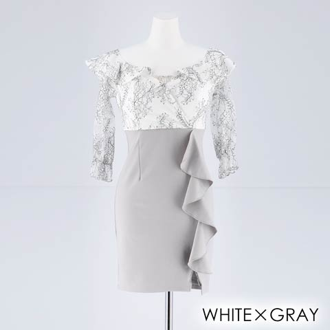 [S~LLサイズ]ビジュー付フラワーレースオフショルタイトミニドレス[4サイズ展開](ホワイトXグレー-S)