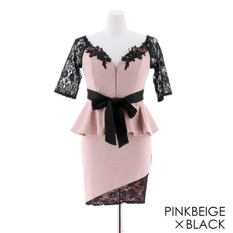 [S~LLサイズ]刺繍入りフロントジップペプラムリボンタイトミニドレス[4サイズ展開](ピンクベージュ×ブラック-Sサイズ)