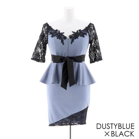 [S~LLサイズ]刺繍入りフロントジップペプラムリボンタイトミニドレス[4サイズ展開](ダスティーブルー×ブラック-Sサイズ)