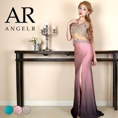 3/8UP【P★10倍】[AngelR]シアービジューグラデーションスカートタイトロングドレス[AR8813][送料無料]