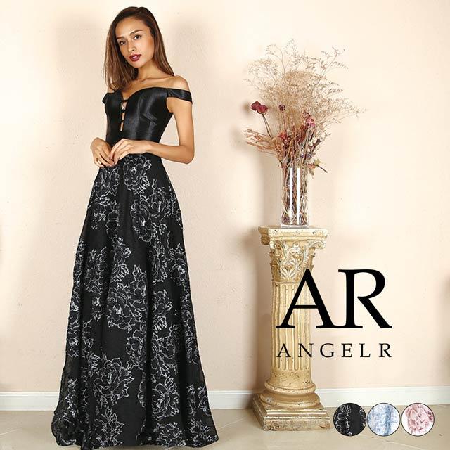 [AngelR]オフショルダーデザインカットフラワーモチーフフレアロングドレス[AR8812]