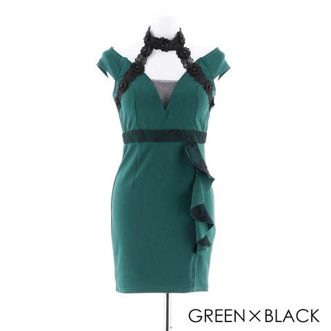 [明日花キララ着用]シックワンカラータイトミニドレス[3サイズ展開](グリーン×ブラック-Sサイズ)