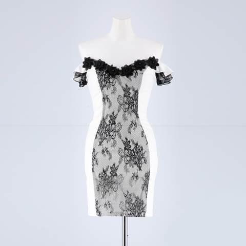 [SMLサイズ]フラワーモチーフレースオフショルタイトミニドレス[3サイズ展開](ホワイト×ブラックレース-Sサイズ)