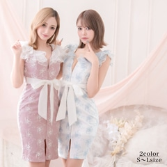 [SMLサイズ]フロントジップ薔薇刺繍タイトミニドレス[3サイズ展開]