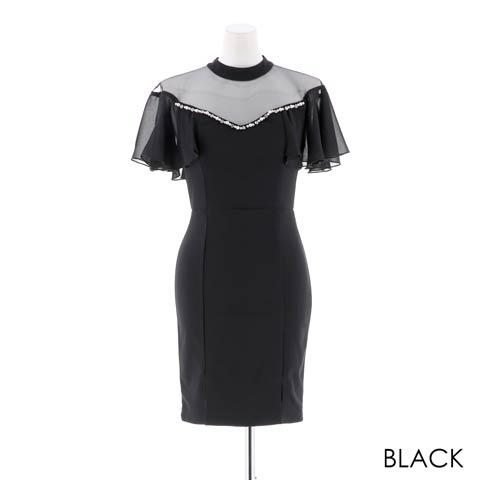 [SMLサイズ]ハイネックレーシータイトミニドレス[3サイズ展開](ブラック-S)
