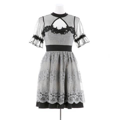 [SMLサイズ]シアー谷間ホールフラワーレースAラインミニドレス[3サイズ展開](ブラックXグレー-Sサイズ)