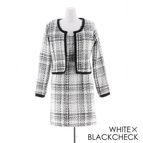 [2ピース][SMLサイズ]ツイード素材チェック柄ジャケットタイトミニドレス[3サイズ展開](ホワイト×ブラックチェック-Sサイズ)