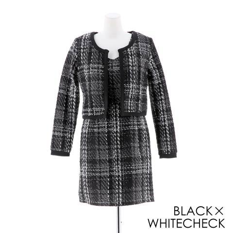 [2ピース][SMLサイズ]ツイード素材チェック柄ジャケットタイトミニドレス[3サイズ展開](ブラック×ホワイトチェック-Sサイズ)