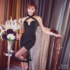明日花キララ着用[SMLサイズ]ホルターネックモノトーンマーメイドラインタイトひざ丈ドレス[3サイズ展開]