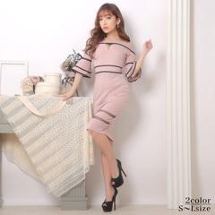 1/15UP[SMLサイズ]ガーリーリボンオフショルタイト膝丈ドレス[3サイズ展開]
