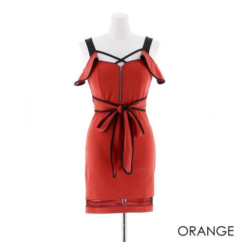 [SMLサイズ]フロントジップビビットカラーリボンタイトミニドレス[3サイズ展開](オレンジ-Sサイズ)