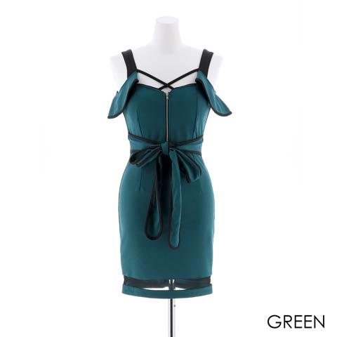 [SMLサイズ]フロントジップビビットカラーリボンタイトミニドレス[3サイズ展開](グリーン-Sサイズ)