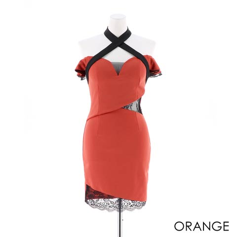 [SMLサイズ]クロスオフショルウエストシアータイトミニドレス[3サイズ展開](オレンジ-Sサイズ)
