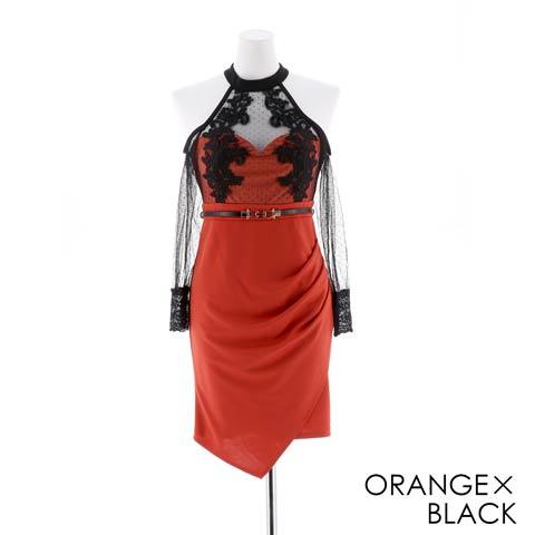 [SMLサイズ]チュール袖オープンショルダータイトミニドレス[3サイズ展開](オレンジ×ブラック-Sサイズ)