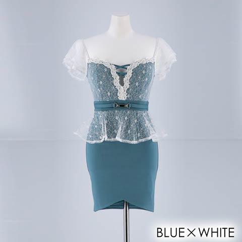 [SMLサイズ]谷間見せレースペプラムタイトミニドレス[3サイズ展開](ブルーXホワイト-Sサイズ)