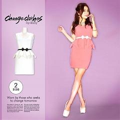 [S/Mサイズ]リボンベルト付きペプラムタイトミニドレス[change clothes]