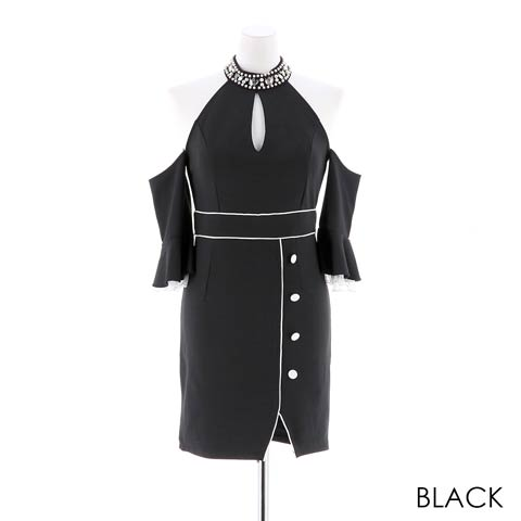 【応援ドレス】[SMLサイズ]上品ワンカラータイトミニドレス[3サイズ展開](ブラック-Sサイズ)