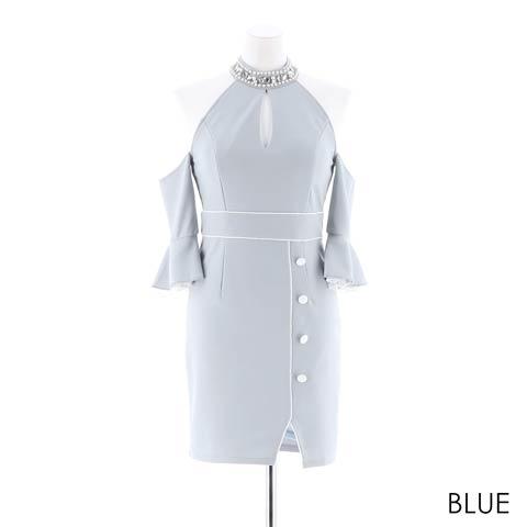 【応援ドレス】[SMLサイズ]上品ワンカラータイトミニドレス[3サイズ展開](ブルー-Sサイズ)