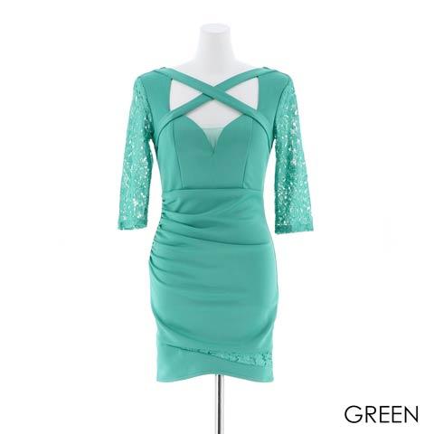 【応援ドレス】[SMLサイズ]袖レースタイトミニドレス[3サイズ展開](グリーン-Sサイズ)