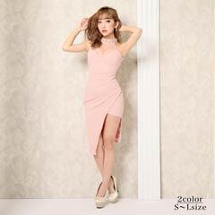 9/23UP[SMLサイズ]アシメアメスリタイト膝丈ドレス[3サイズ展開]