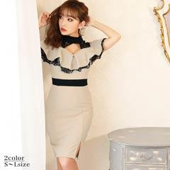 [SMLサイズ]デコルテレースハイネックフリルタイト膝丈ドレス[3サイズ展開]