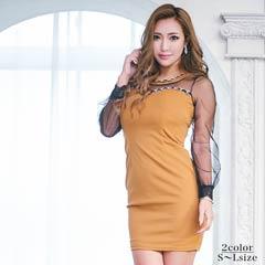 [SMLサイズ]チェーンモチーフ付きシースルータイトミニドレス[3サイズ展開]