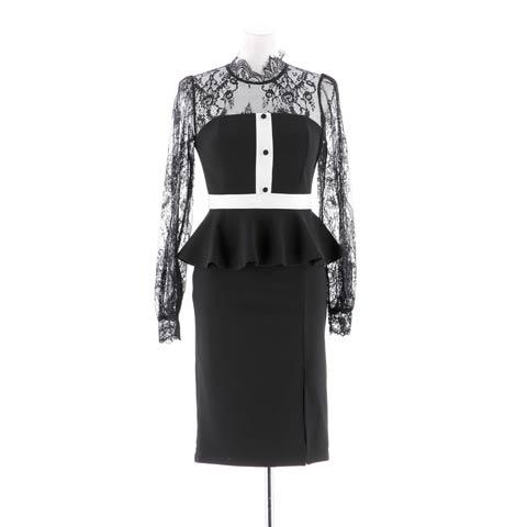 [S~LLサイズ]クラシカルハイネックレースペプラムタイトミニドレス[4サイズ展開](ブラック×ホワイト-Sサイズ)