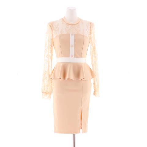 [S~LLサイズ]クラシカルハイネックレースペプラムタイトミニドレス[4サイズ展開](グレー×ホワイト-Sサイズ)