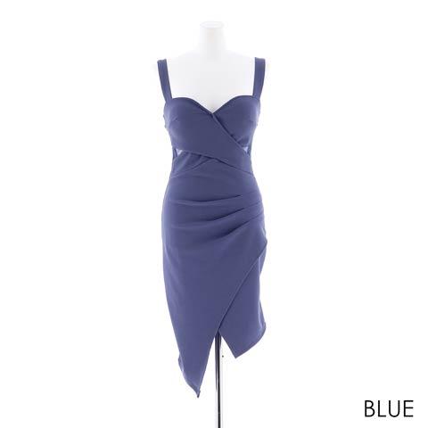 [S~LLサイズ]ワンカラーアシメスカートタイトミニドレス[4サイズ展開](ブルー-Sサイズ)