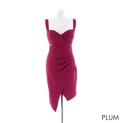 [S~LLサイズ]ワンカラーアシメスカートタイトミニドレス[4サイズ展開](プラム-Sサイズ)