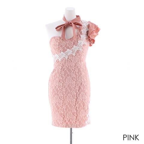 【応援ドレス】[SMLサイズ]ワンショル総レースタイトミニドレス[3サイズ展開](ピンク-Sサイズ)
