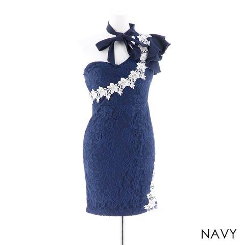 【応援ドレス】[SMLサイズ]ワンショル総レースタイトミニドレス[3サイズ展開](ネイビー-Sサイズ)