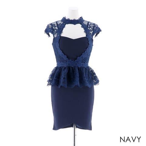 【応援ドレス】[SMLサイズ]谷間見せレースペプラムタイトミニドレス[3サイズ展開](ネイビー-Sサイズ)