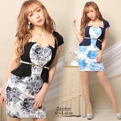 【応援ドレス】[SMLサイズ]フラワー柄ペプラムタイトミニドレス[3サイズ展開]